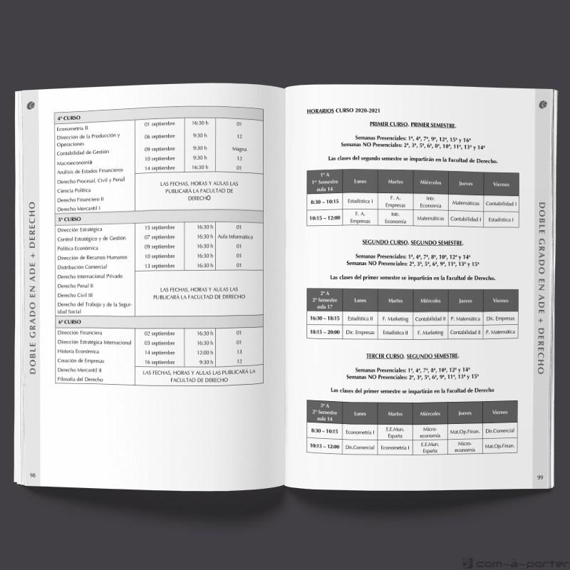 Maquetación del Libro Programación Académica Curso 2020 / 2021 de la Facultad de Ciencias Económicas y Empresariales de la Universidad de Málaga