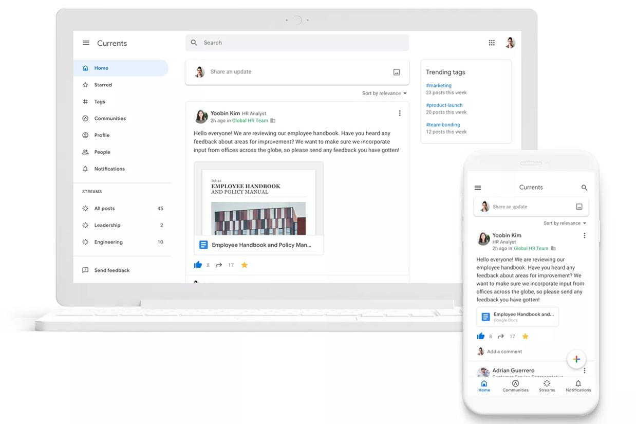 Google Currents usa el mismo concepto que Microsoft Teams