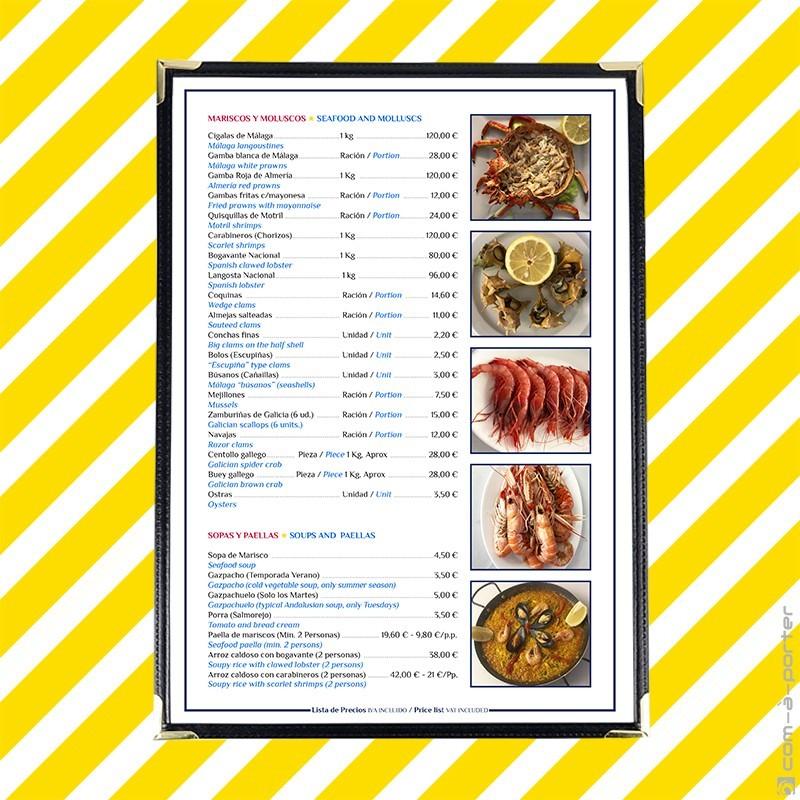 Carta menú bilingüe de Restaurante El Caleño
