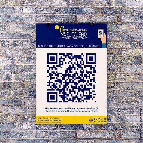 Cartel indicador de Menú QR para Restaurante El Caleño