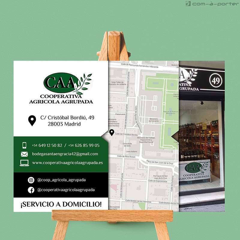 Flyer publicitario de la nueva tienda de Cooperativa Agrícola Agrupada en Madrid