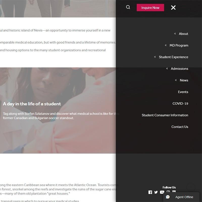 Página web MUA: Medical University of the Americas