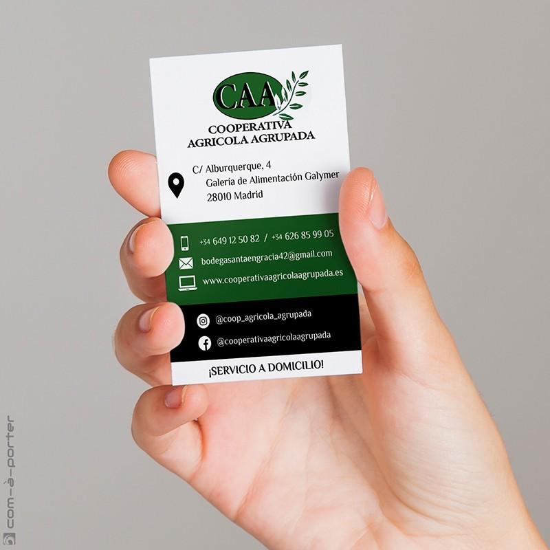 Tarjeta de visita para nueva tienda de Cooperativa Agrícola Agrupada en Madrid