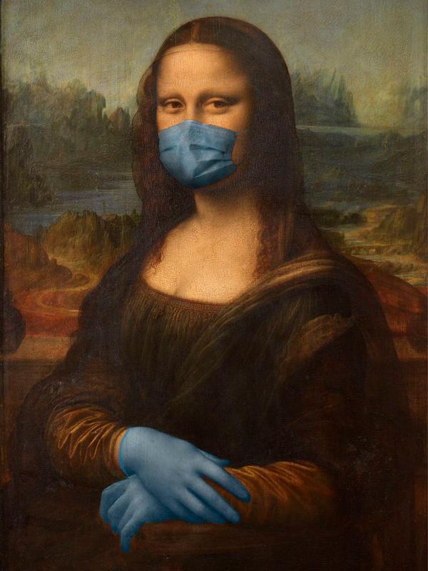 Arte con mascarillas: la Gioconda, de Leonardo Da Vinci