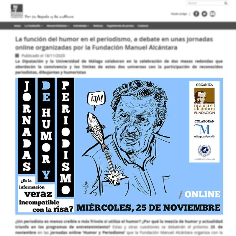 Banners informativos de las Jornadas de Humor y Periodismo para la web de la Fundación Manuel Alcántara