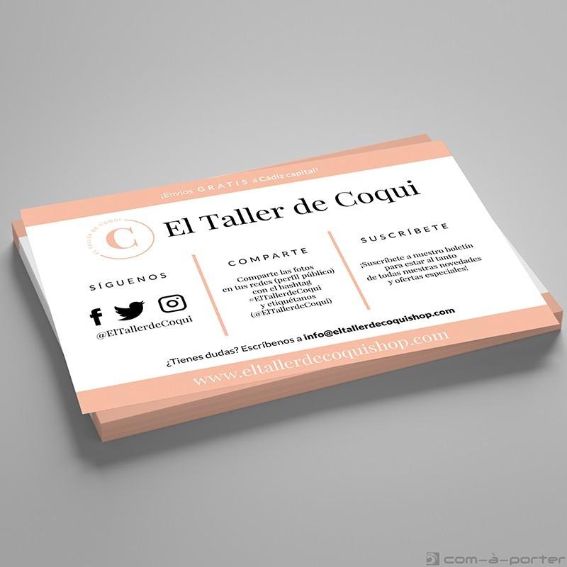 Flyer para tienda física en Cádiz El Taller de Coqui