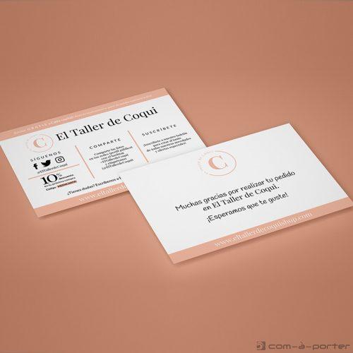 Flyer - Tarjeta de agradecimiento para tienda online El Taller de Coqui