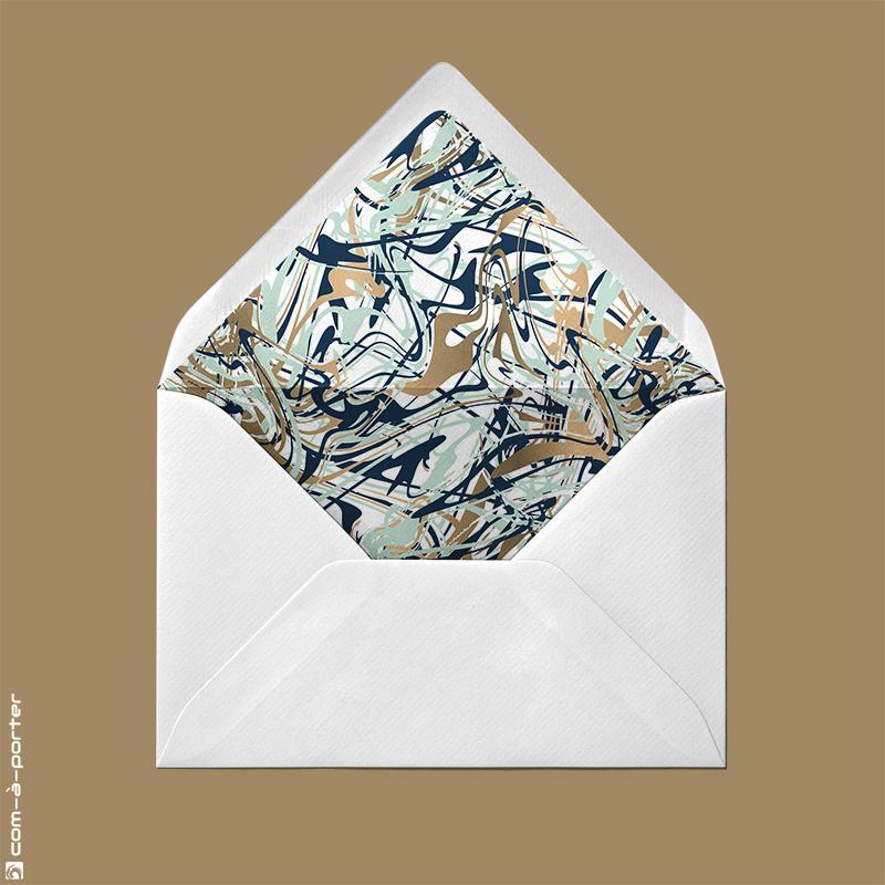 Diseño de sobre forrado verjurado blanco con fondo abstracto para Invitación de Boda