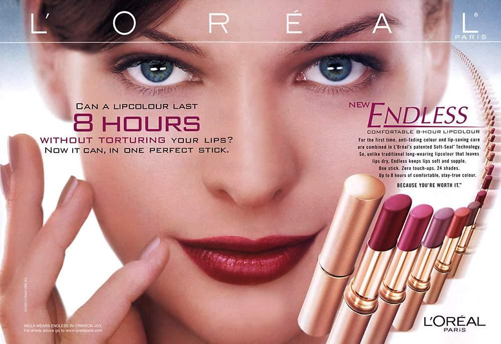 Milla Jovovich también ha trabajado con L'Oréal