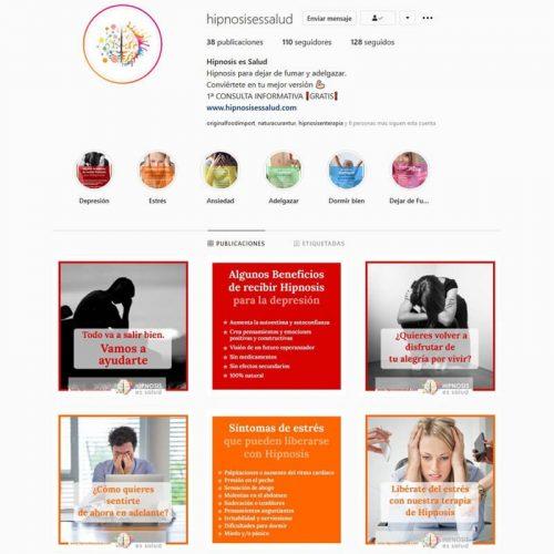 Gestión de perfil de Instagram de Hipnosis es Salud
