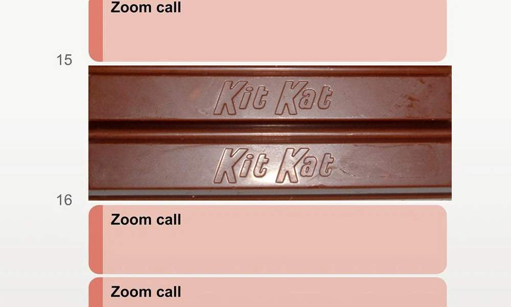 Haz un paréntesis de KitKat entre cada reunión de Zoom