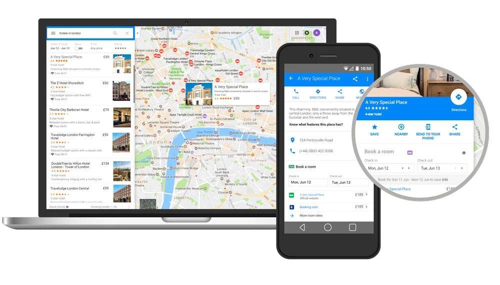 La app de Google Hotel es gratuita