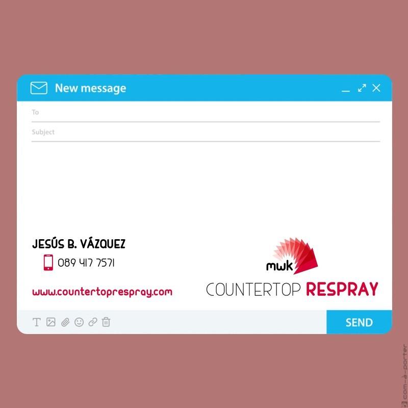 Tarjeta de visita y firma de email de Countertop Respray, filial de My Wonder Kitchen