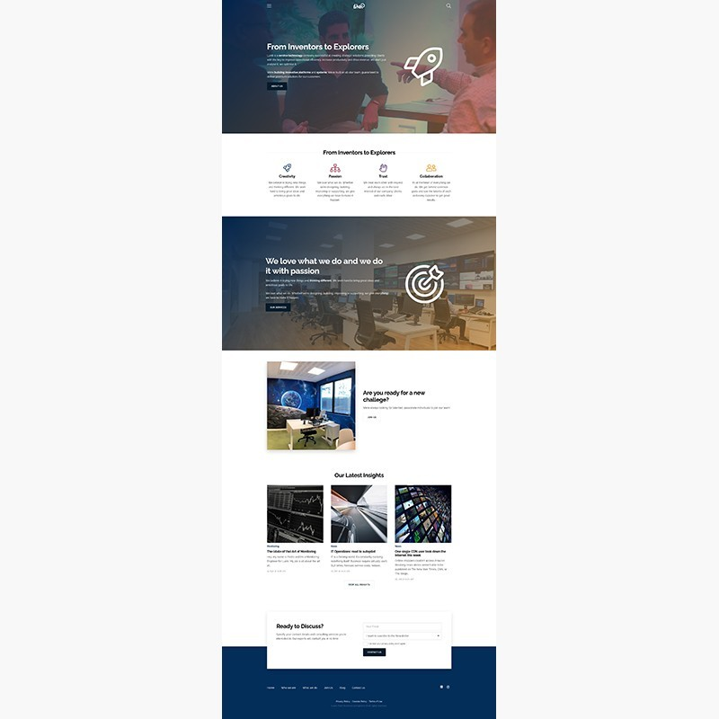 Diseño de página web de Lunik. Explorers at Work