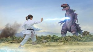La karateka Sandra Sánchez contra personajes de anime