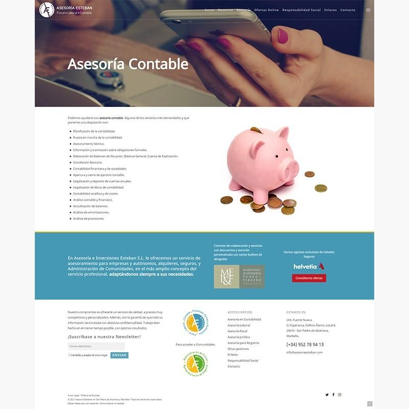 Página web Asesoría Esteban en Marbella